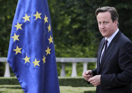 British Prime Minister David Cameron walks past an EU flag during his visit in Brdo pri Kranju, Slovenia June 18, 2015.  REUTERS/Srdjan Zivulovic