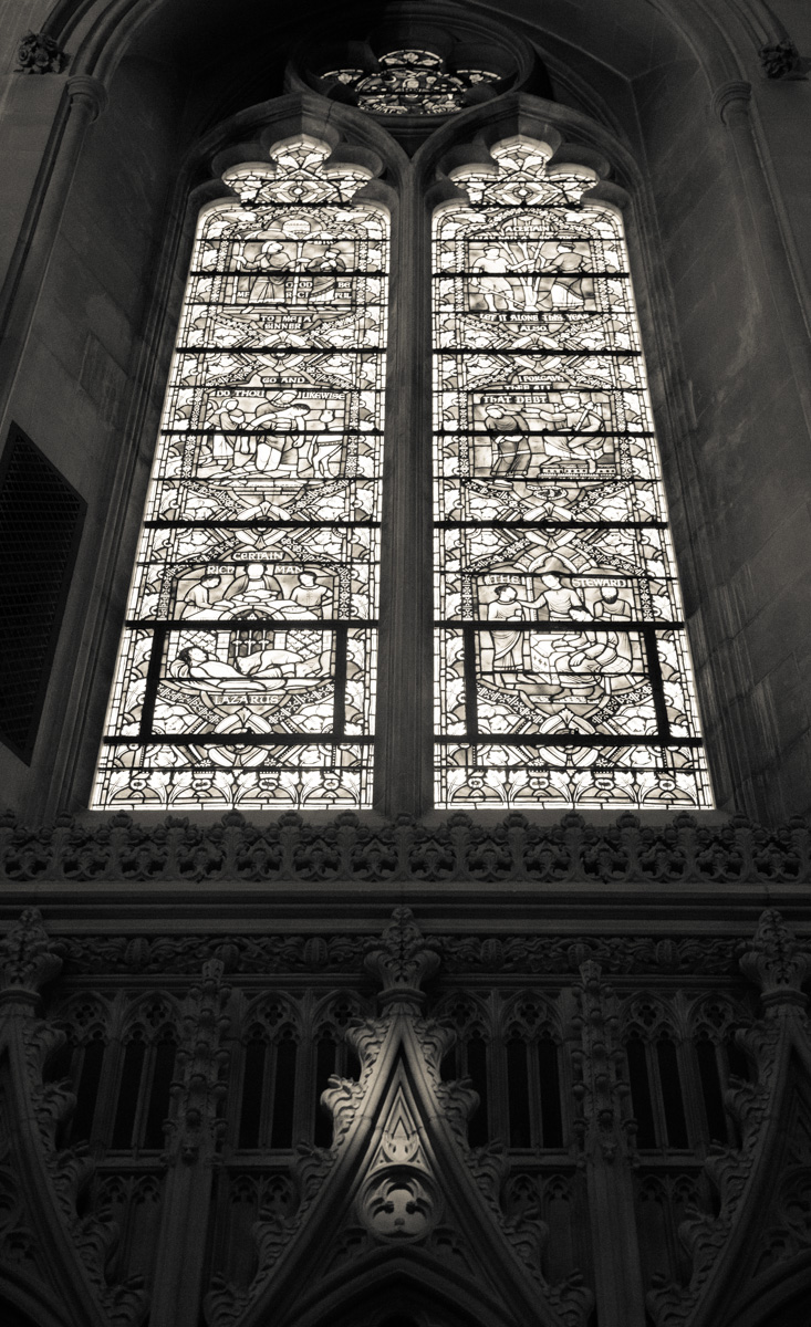 Sunlight reflects through a stained glass window inside the Washington National Cathedral on June 12, 2015. Religion News Service photo by Sally Morrow