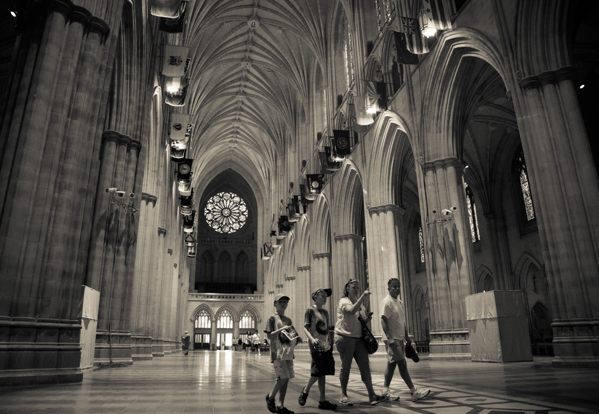 Tourists walk through the Washington National Cathedral on June 12, 2015. Religion News Service photo by Sally Morrow