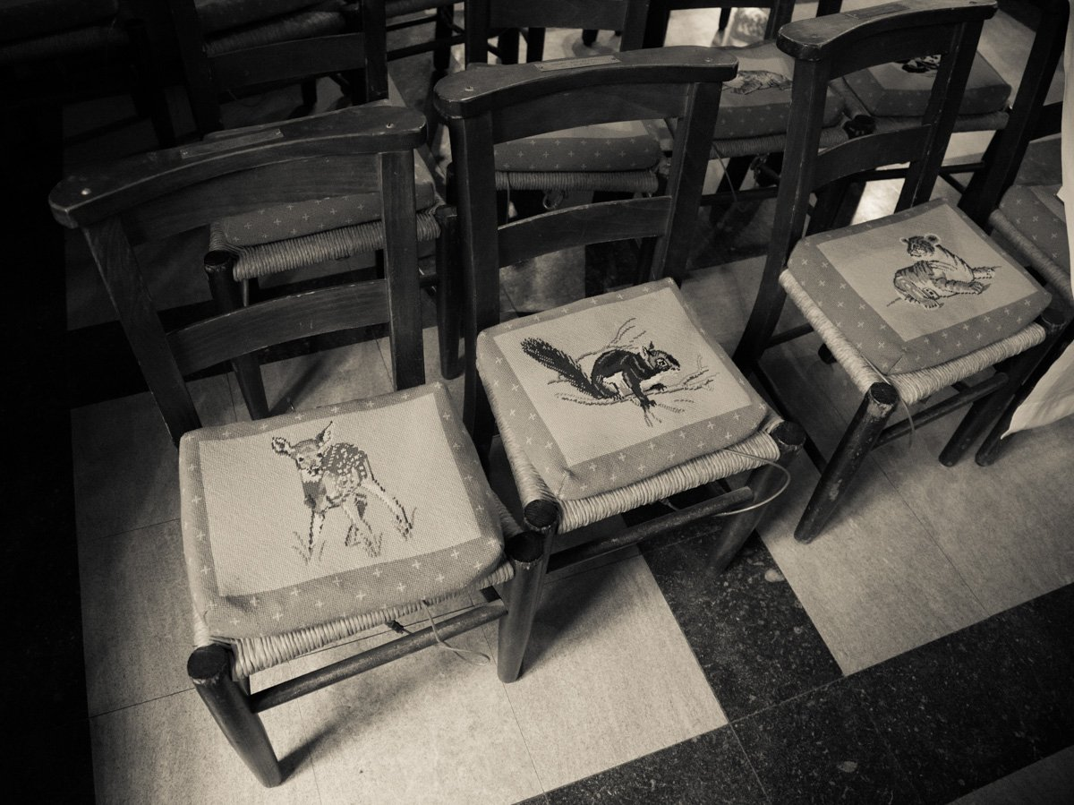 Tiny chairs are lined up inside the Children's Chapel inside the Washington National Cathedral on June 12, 2015. Religion News Service photo by Sally Morrow