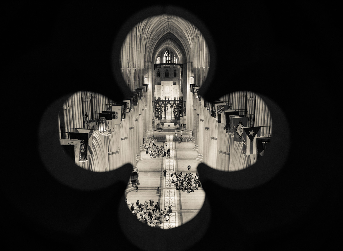 The Washington National Cathedral interior framed through a stone detail on the Cathedral's balcony on June 12, 2015. Religion News Service photo by Sally Morrow