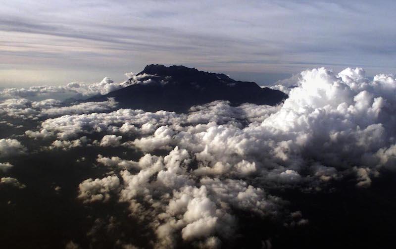 An aerial photograph of Mount Kinabalu.