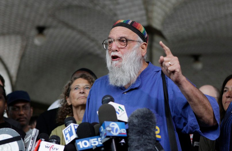 Rabbi Arthur Waskow, Director of the Shalom Center, speaks in support of a proposed Muslim cultural center and mosque Park51 in New York on August 25, 2010. Photo couresy of REUTERS/Lucas Jackson  *Editors: This photo may only be republished with RNS-PAPAL-FANS, origianlly transmitted on June 18, 2015.