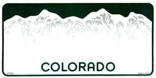 Blank Colorado license plate