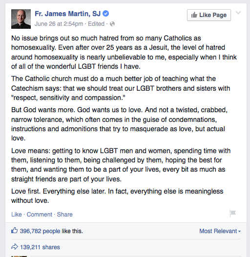 A screen shot of Jesuit Father James Martin's Facebook post on anti-gay reaction to the Supreme Court decision.