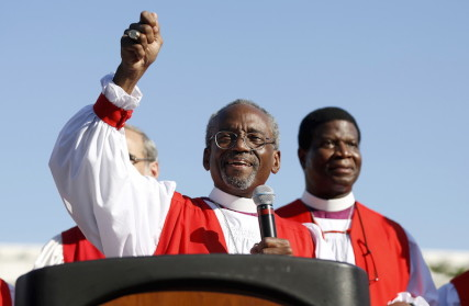 Bishop Michael Curry, led marchers through the streets to protest against gun violence as part of the Episcopal Church convention in Salt Lake City, Utah June 28, 2015. Curry was elected as the first African-American presiding bishop during the General Convention of the Episcopal Church, which is held every three years in different cities around the country. Photo courtesy of  REUTERS/Jim Urquhart  *Editors: This photo may only be republished with RNS-RUSSELL-COLUMN, originally transmitted on July 2, 2015.