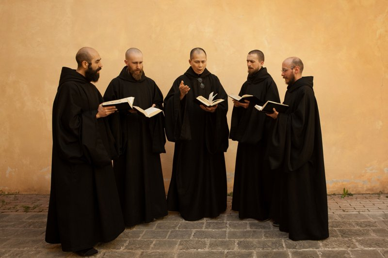 The Monks of Norcia, a group of Benedictine monks in Norcia, Italy. The group's new Gregorian chant CD debuted at No. 1 on Billboard's classical music chart last week (June 10, 2015). Photo by Christopher McLallen, courtesy of the Monks of Norcia
