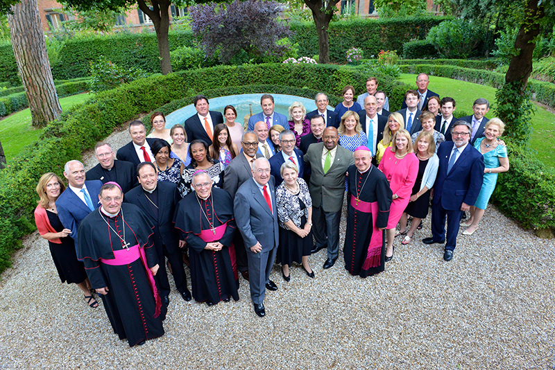 The World Meeting of the Families delegation poses for a photograph during a reception at home of US Ambassador to the Holy See in Rome on June 22, 2015. Photo courtesy of World Meeting of Families – Philadelphia 2015/Chris Warde-Jones