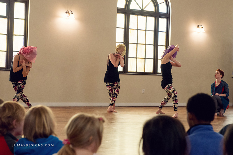 ​Dancers perform ​to local school children​ at Fremont Abbey Arts Center in Seattle. Photo courtesy of Jumay Designs, Fremont Abbey Arts Center