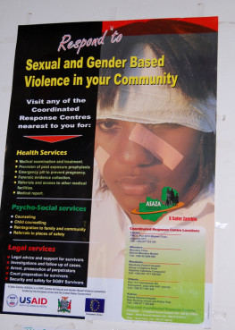 A public poster brings attention to gender based violence in Zambia. Religion News Service photo by Dale Hanson Burke