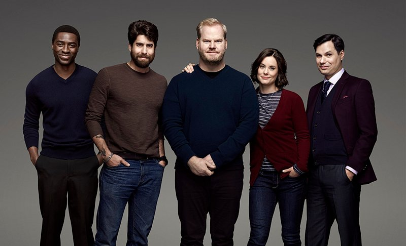 "The cast of ""The Jim Gaffigan Show,"" a new series premiering on TVLand on July 15 featuring Jim Gaffigan, center. Photo courtesy of TVLand"