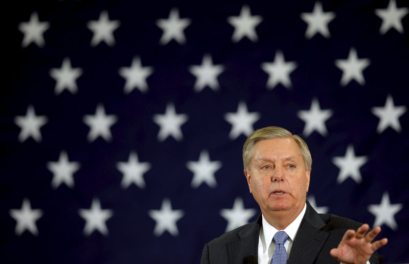 Potential Republican 2016 presidential candidate U.S. Senator Lindsey Graham (R-SC) speaks at the First in the Nation Republican Leadership Conference in Nashua, New Hampshire on April 18, 2015. Photo courtesy of REUTERS/Brian Snyder *Editor: This photo may only be republished with RNS-GRAHAM-FAITH, originally transmitted on June 1, 2015.