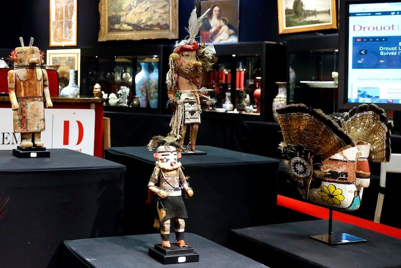 Sacred Hopi and Acoma objects are displayed at the Drouot auction house in Paris prior to auction. Photo by Jacky Naegelen courtesy of Reuters