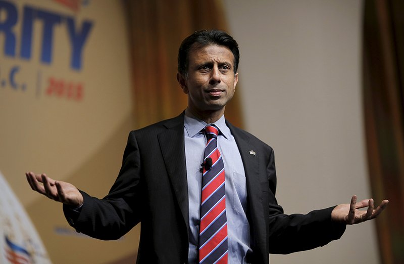 "Louisiana Governor and potential Republican presidential candidate Bobby Jindal addresses a legislative luncheon held as part of the ""Road to Majority"" conference in Washington on June 19, 2015. Photo courtesy of REUTERS/Carlos Barria *Editors: This photo may only be republished with RNS-JINDAL-FAITH, originally transmitted on June 24, 2015."
