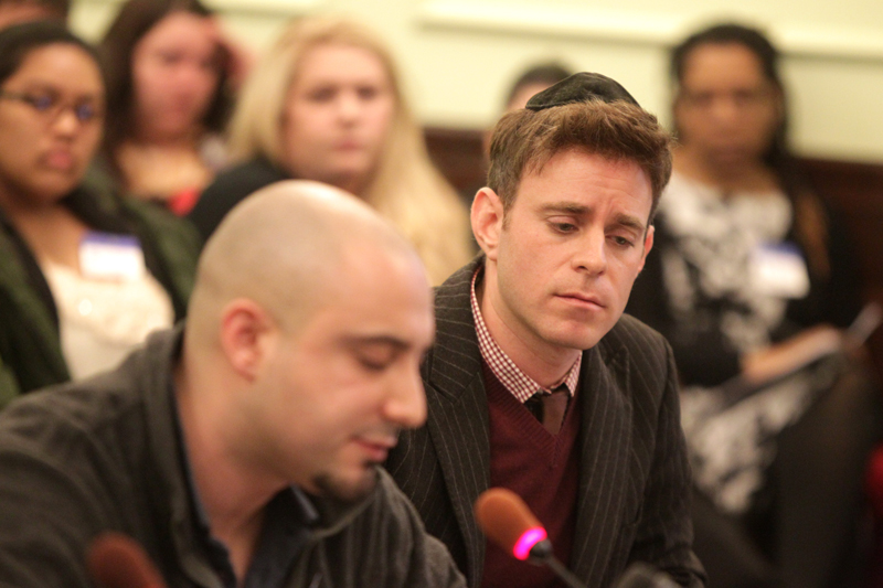 Mordechai Levovitz, right, co-executive director of Jewish Queer Youth, listens as Ryan Kendall of New York City testifies during a hearing of the New Jersey Senate health committee at the Statehouse in Trenton on March 18, 2013. The committee heard testimony on a bill that would ban counseling services designed to turn gay kids straight. Photo by John O'Boyle/The Star-Ledger