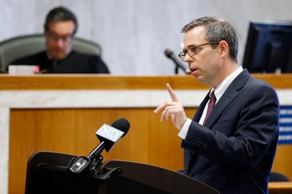 James Bromley delivers closing arguments for the plaintiffs in the trial Ferguson v. JONAH. In a first-of-its-kind trial, five people sued the gay conversion therapy organization JONAH (Jews Offering New Alternatives for Healing) for consumer fraud. Photo by Alex Remnick | NJ Advance Media