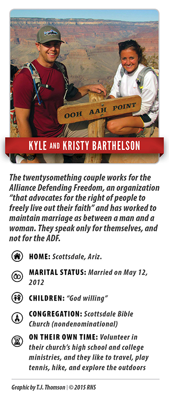 Kyle and Kristy Barthelson, who have been married for three years, want to have children someday. And when that day arrives, they want to raise them in a society where their biblical values matter. Gay marriage is not something they can learn to accept in their lives. Their Bible, their guide to life, tells them it is wrong. Religion News Service graphic by T.J. Thomson