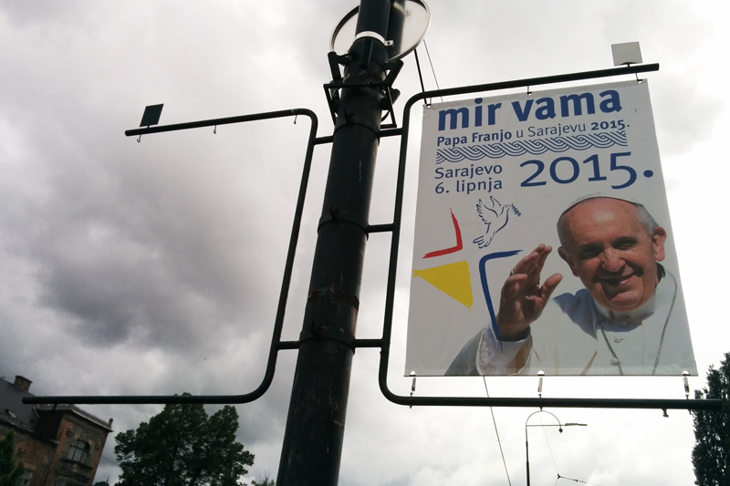 A banner advertising Pope Francis' visit to Bosnia hangs in Sarajevo. Religion News Service photo by Brian Pellot