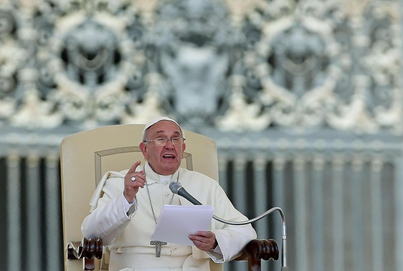 Pope Francis speaks during his weekly audience in St. Peter's Square at the Vatican on June 3, 2015. Photo by Alessandro Di Meo, courtesy of Catholic News Service