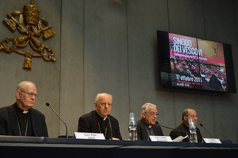Left to right, Cardinal Peter Erdo, Cardinal Lorenzo Baldisseri, Federico Lombardi (Vatican chief spokesman) and Italian Archbishop Bruno Forte, speak about family issues at the Vatican on Tuesday (June 23, 2015). Religion News Service photo by Rosie Scammell