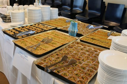 Dessert choices, including Baklava fingers, at the 13th annual multi-cultural Ramadan event, held at the GE Global Research campus in Niksayuna, NY on June 3, 2015, for Muslim and non-Muslim GE families. The interfaith event was held before the start of Ramadan. Photo by Sirin Hamsho (GE Power & Water division)