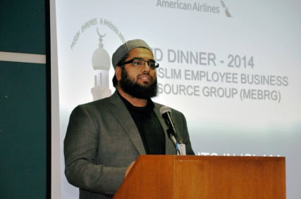 Imam Abdul Nasir Jangda was the guest speaker at the 2014 American Airlines Muslim Business Employee Resource Group's 16th annual Eid Dinner Event at American Airlines headquarters in Forth Worth, Texas. The airline defrays most of the cost of the event and the group members contribute as well. The 2015 Eid dinner, marking the end of Ramadan, will be held later in August. Photo courtesy of Adnan Aldabaja, President of the American Airlines Muslim Business Employee Resource Group