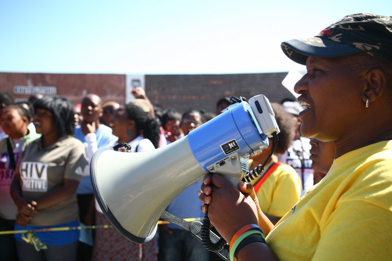 Funeka Soldaat, founder of the advocacy group Free Gender, outside the Khayelitsha Magistrate's Court in 2011. Photo by Melanie Hamman Doucakis, courtesy of Laura Fletcher