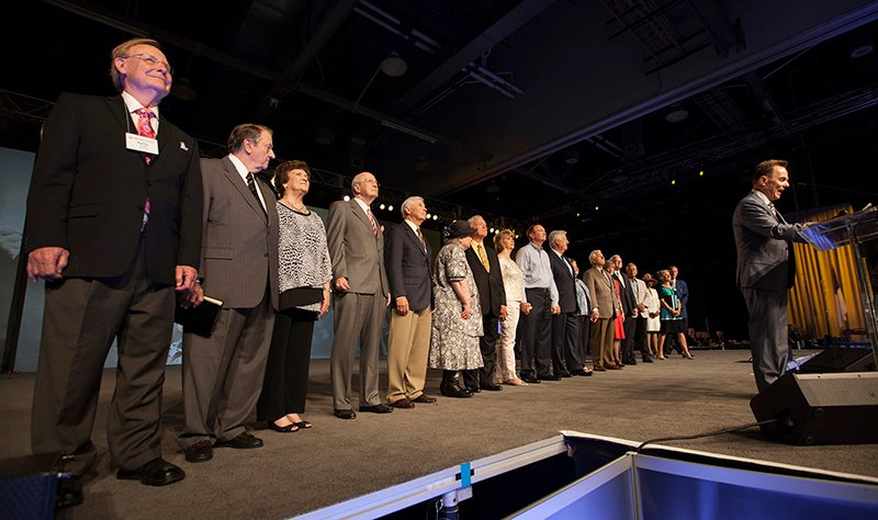 Southern Baptist Convention President Ronnie Floyd introduces past presidents and their wives, standing behind him, on June 16, 2015, during the morning session of the SBC annual meeting at the Greater Columbus Convention Center in Columbus, Ohio. Photo by Adam Convington, courtesy of Baptist Press