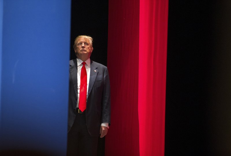 Real estate developer Donald Trump prepares to go on stage to speak during the Freedom Summit in Greenville, South Carolina on May 9, 2015. Photo courtesy of REUTERS/Chris Keane *Editors: This photo may only be republished with RNS-TRUMP-FAITH, originally transmitted on June 17, 2015, or with RNS-PALLY-COLUMN, originally transmitted on Dec. 9, 2015.