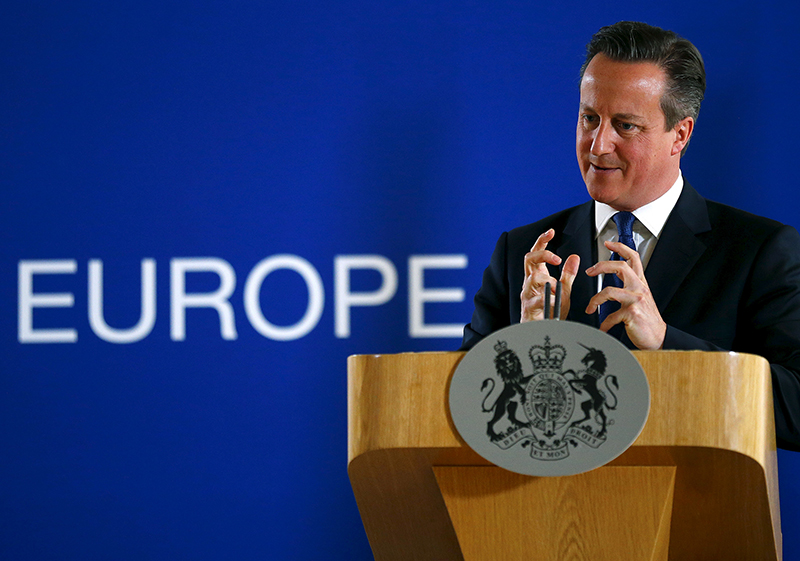 British Prime Minister David Cameron speaks during a news conference after the European Union leaders summit in Brussels, Belgium on June 26, 2015. Photo courtesy of REUTERS/Darren Staples *Editors: This photo may only be republished with RNS-UK-EXTREMISTS, originally transmitted on June 30, 2015 or RNS-CAMERON-ISLAM, originally transmitted on July 20, 2015.