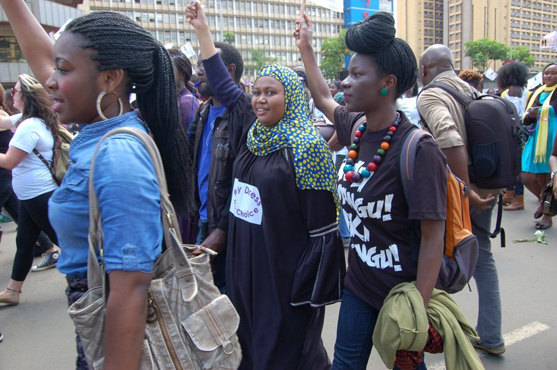 Young Muslim women take part in a demonstration about the choice of dress in Nairobi, in March 2015. Religion News Service photo by Fredrick Nzwili