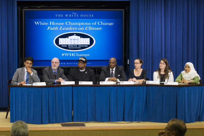 A panel at the White House Champions of Change event on July 20, 2015 featured, left to right, Rohan Patel, special assistant to President Obama and panel moderator; Patrick Carolan of the Franciscan Action Network; the Rev. Lennox Yearwood Jr. of the Hip Hop Caucus; the Rev. Gerald Durley of Atlanta; Cassandra Carmichael of the National Religious Partnership for the Environment; Rachel Lamb of Young Evangelicals for Climate Action; Nana Firman of Our Voices. Photo by Eric Vance, EPA.