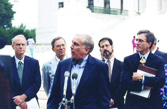 James Dunn addresses the media in Washington, D.C., on July 22, 1997. Photo courtesy of Baptist Joint Committee