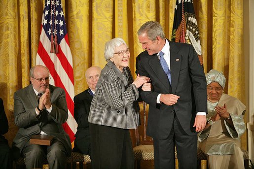 President George W. Bush awards the Presidential Medal of Freedom to author Harper Lee during a ceremony on Nov. 5, 2007, in the East Room.