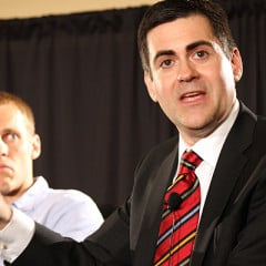(RNS1-JULY 31) Ethics & Religious Liberty Commission President Russell Moore, right, leads a June 9, 2014, panel discussion as David Platt, pastor of The Church at Brook Hills, listens. For use with RNS-RUSSELL-MOORE transmitted July 31, 2014. RNS photo by Adelle M. Banks
