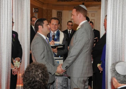 A same-sex couple say their vows during a Jewish ceremony. For use with RNS-GAY-MARRIAGE, transmitted on November 19, 2013, Photo courtesy Jacqui DePas Photography.