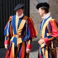 The Vatican Swiss Guard can often be seen in parade attire, but don't be fooled. They have a well-stocked and modern arsenal. (Image courtesy of Nathan Rupert - http://bit.ly/1JecCHf)