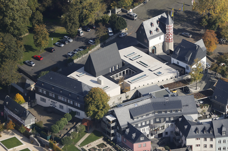 An aerial view shows the ensemble of the bishop's residence in Limburg. German Catholic bishop Franz-Peter Tebartz-van Elst ordered the luxury residence and and office. Photo courtesy  REUTERS/Wolfgang Rattay.