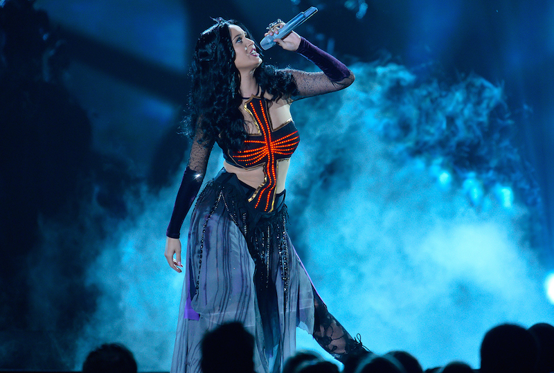 """Katy Perry performs  """"Darkhorse""""  at the 56th Annual Grammy Awards at the Staples Center in Los Angeles, CA. --    Photo by Robert Hanashiro, USA TODAY Staff"""