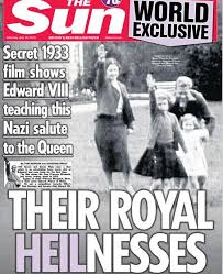 A 1933 image showing Queen Elizabeth as a girl giving the Nazi salute. The photo appeared in the British tabloid The Sun.