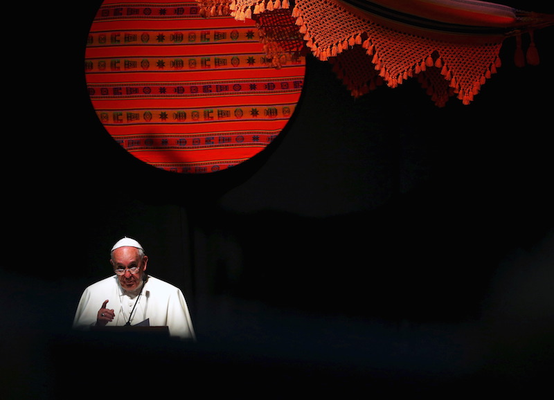 Pope Francis makes his speech during a World Meeting of Popular Movements in Santa Cruz, Bolivia, July 9, 2015.