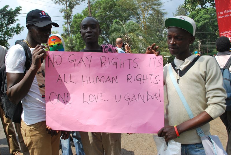 "Gay men demonstrate in Nairobi in support of others in Uganda after the country passed a draconian law dubbed ""kill the gays bill"" last year. Religion News Service photo by Fredrick Nzwili"
