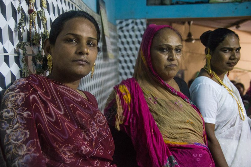 Savitri, Sandhya and Faulan are brothers and gurus in the same hijra community in Ahmedabad, India. This particular community claims to be the first hijra community in the city. Photo taken on March 19, 2015. Religion News Service photo by Olivia Lace-Evans