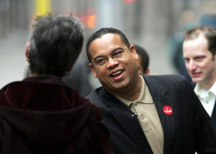 Keith Ellison, Democratic candidate for Congress, greets commuters at a light rail stop in Minneapolis on November 7, 2006. After his election, Ellison became the first Muslim in Congress as well as the first black representative from Minnesota. Photo courtesy of REUTERS/Eric Miller *Editors: This photo may only be republished with RNS-MUSLIM-POLL, originally transmitted on July 14, 2015, or with RNS-MUSLIM-VOTERS, originally transmitted on March 10, 2016.