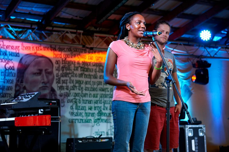 Bree Newsome speaks during Wild Good Festival 2015. Photo by Steve Mann, courtesy of Wild Goose Festival