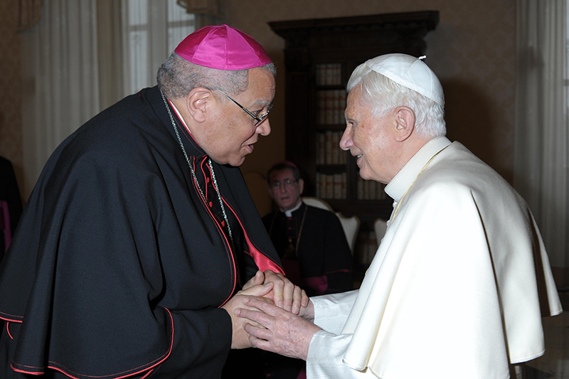 """Pope Benedict XVI greets Bishop George V. Murry of Youngstown, Ohio, during a 2012 meeting with U.S. bishops on their """"ad limina"""" visits to the Vatican. U.S. bishops from Ohio were making their """"ad limina"""" visits to report on the status of their dioceses to the pope and Vatican officials. Photo courtesy of CNS photo/L'Osservatore Romano"""