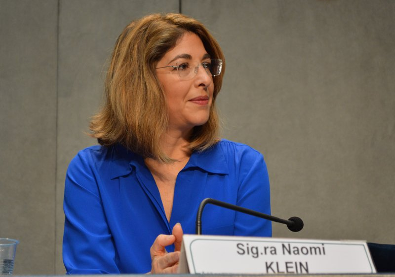 Anti-capitalism activist Naomi Klein, praised Pope Francis for standing up to Republicans who are warring against environmentalists, on July 1, 2015, at the Vatican. Religion News Service photo by Rosie Scammell