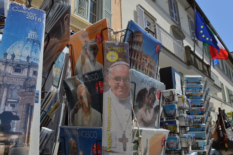 Pope Francis memorabilia in Castelgondolfo. Photo courtesy Rosie Scammell