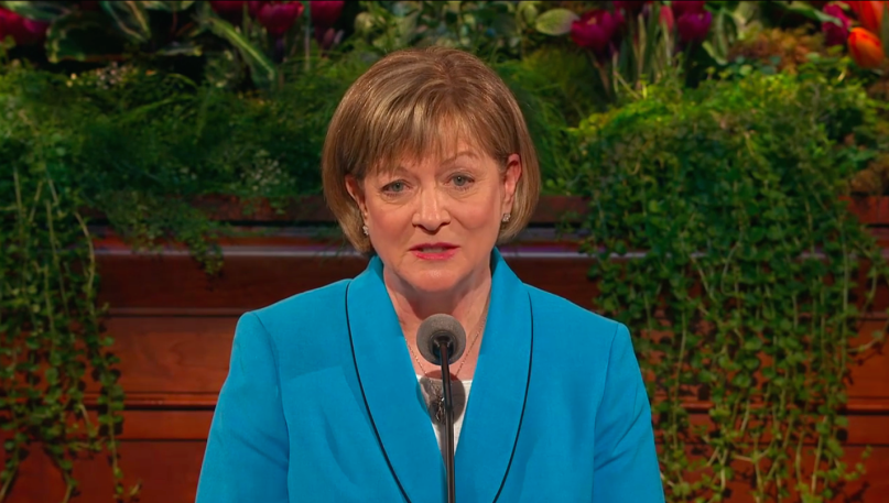 President Bonnie L. Oscarson addressing the LDS Church's general women's meeting in April 2014. This month, Oscarson was appointed to one of the church's highest committees, a first in Mormon history.