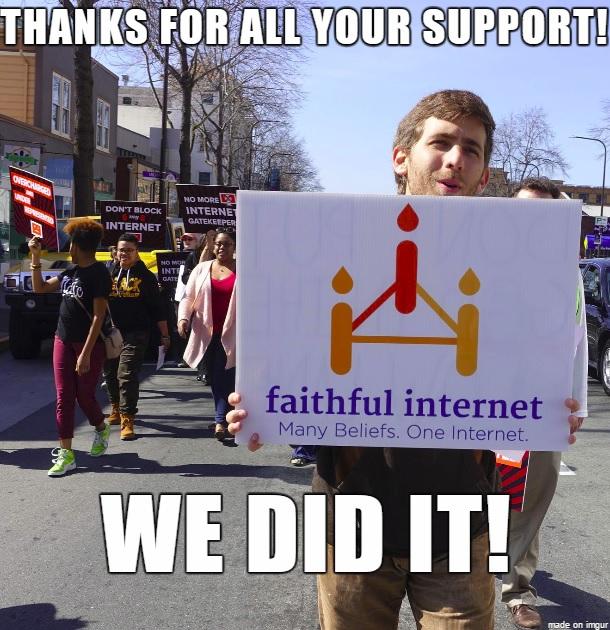 Greg Epstein of Faithful Internet holds a sign during the #DontBlockMyInternet Bay Area Rally in Berkeley, Calif., on Feb. 20, 2015. Photo courtesy of Faithful Internet